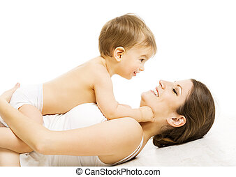 Mother Baby Love, Happy Mom Kid Boy. Child and Family Isolated White