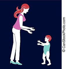 mother baby walking blue background
