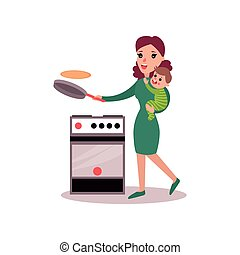 Mother baking pancakes with baby in her arms, super mom concept vector Illustration