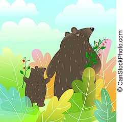 Mother bear and baby cub animals watercolor style cartoon ...