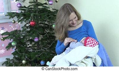 mother beast feed baby - Happy woman breastfeed feed newborn...