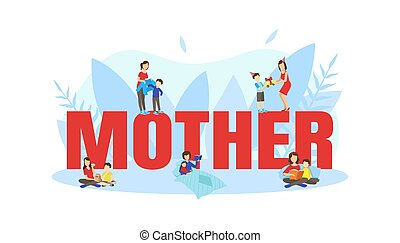 Mother Big Word with Tiny Parents and Children Spending Time Together Vector Illustration