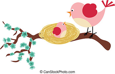 Scalable vectorial image representing a mother bird and her birdie, isolated on white.
