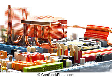 mother-board with the established copper system of cooling on a heat pipes for a chipset