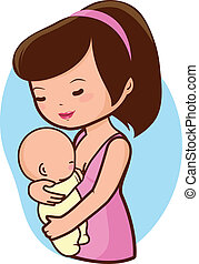Mother breastfeeding baby - A mother nursing her newborn...