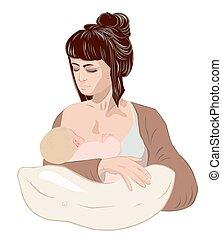 Mother breastfeeding her newborn baby child holding little girl in caring hands using nursing pillow.