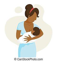 Mother breastfeeding her newborn baby. Idea of child care...