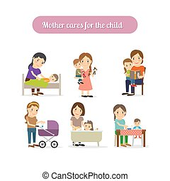 Mother cares for child characters set