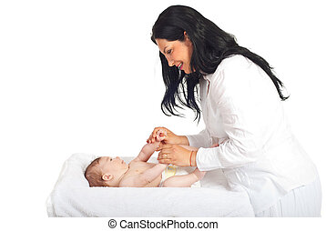 Mother caring newborn baby