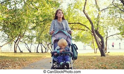 Mother carries her son in a pram in autumn park in...