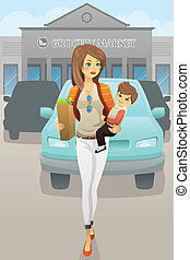 Mother carrying her son and grocery bags - A vector...
