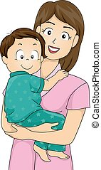 Mother Carrying Toddler - Illustration Featuring a Mother...