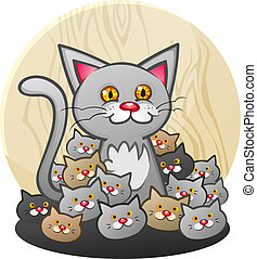 A cute cat, mother or father, with a group of newborn kittens. A happy family of pets!