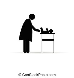 mother change baby vector silhouette