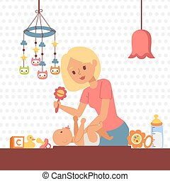 Mother changing baby diaper, vector illustration. Young woman playing with her newborn child in nursery. Happy smiling mom taking care of baby at home, everyday parent routine