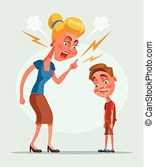 Mother character scolds son character. Vector flat cartoon illustration