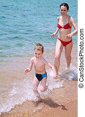 mother child beach