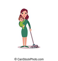 Mother cleaning the floor with baby in her arms, super mom concept vector Illustration