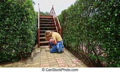 Mother Consoles Hurt Little Girl Walk in Hedge Labyrinth -...
