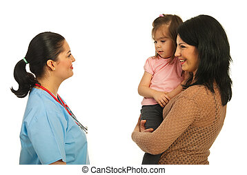 Mother with toddler daughter having happy conversation with doctor woman isolated on white background