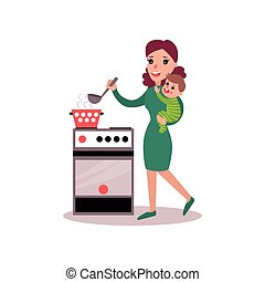 Mother cooking at the kitchen with baby in her arms, super mom concept vector Illustration