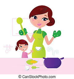 Mom and child cooking together in kitchen. Vector Illustration.
