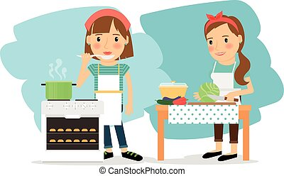 Mother cooking in kitchen