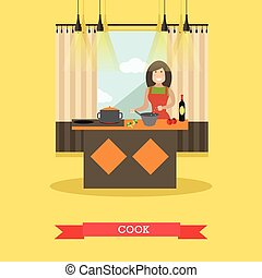 Mother cooking in kitchen vector illustration in flat style