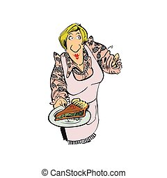 mother cooking pizza cartoon character . Vector Illustration design.