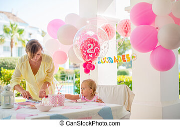 Outdoor Birthday Party for a Little Cute Girl - Mother Cut...