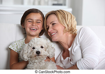 Mother, daughter and the dog