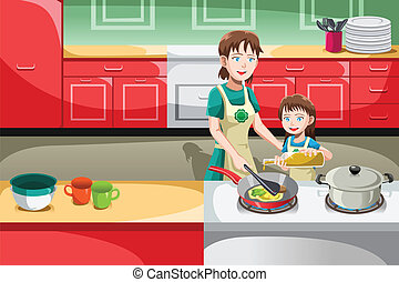 Mother daughter cooking