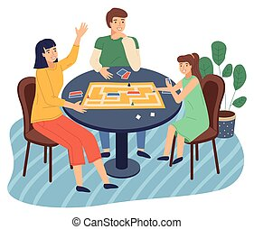 Mother, daughter, father play together at home, happy family spend leisure time together at home