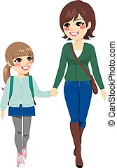 Mother Daughter Going School