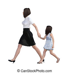 Mother Daughter Interaction of Girl Holding Mom Hand