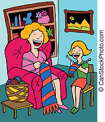 Mother Daughter Knitting - hand drawn illustration vector...