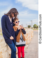 mother daughter on  walk