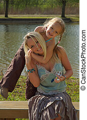 Mother Daughter - Mother and Daughter in the park