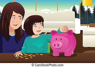 Mother daughter saving money to a piggybank