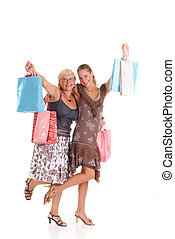 Mother, daughter shopping - Attractive mother and daughter...
