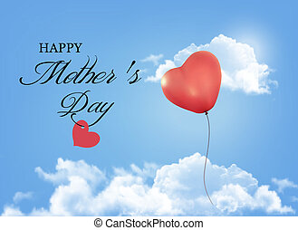 Mother day background. Holiday heart-shaped balloon in a...