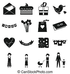 Mother Day black simple icons