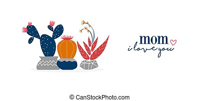 Mother day cactus plant flowers web banner art