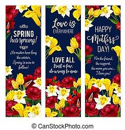 Mother Day flower banner for spring holiday design