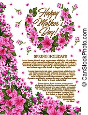 Mother Day greeting banner with pink spring flower