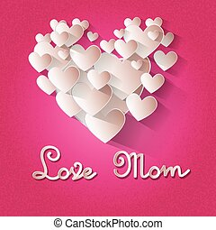 Mother Day Holiday Love Mom Heart Shape Greeting Card