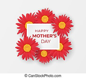 Mother day invitation with bouquet of gerberas