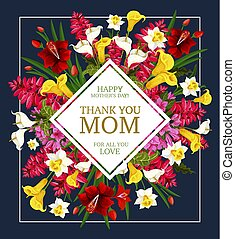 Mother Day Thank You card with spring flower frame