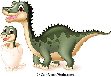 Mother dinosaur with baby hatching. - animal, archeology,...