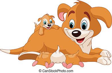 Illustration of mother dog nursing cute puppies